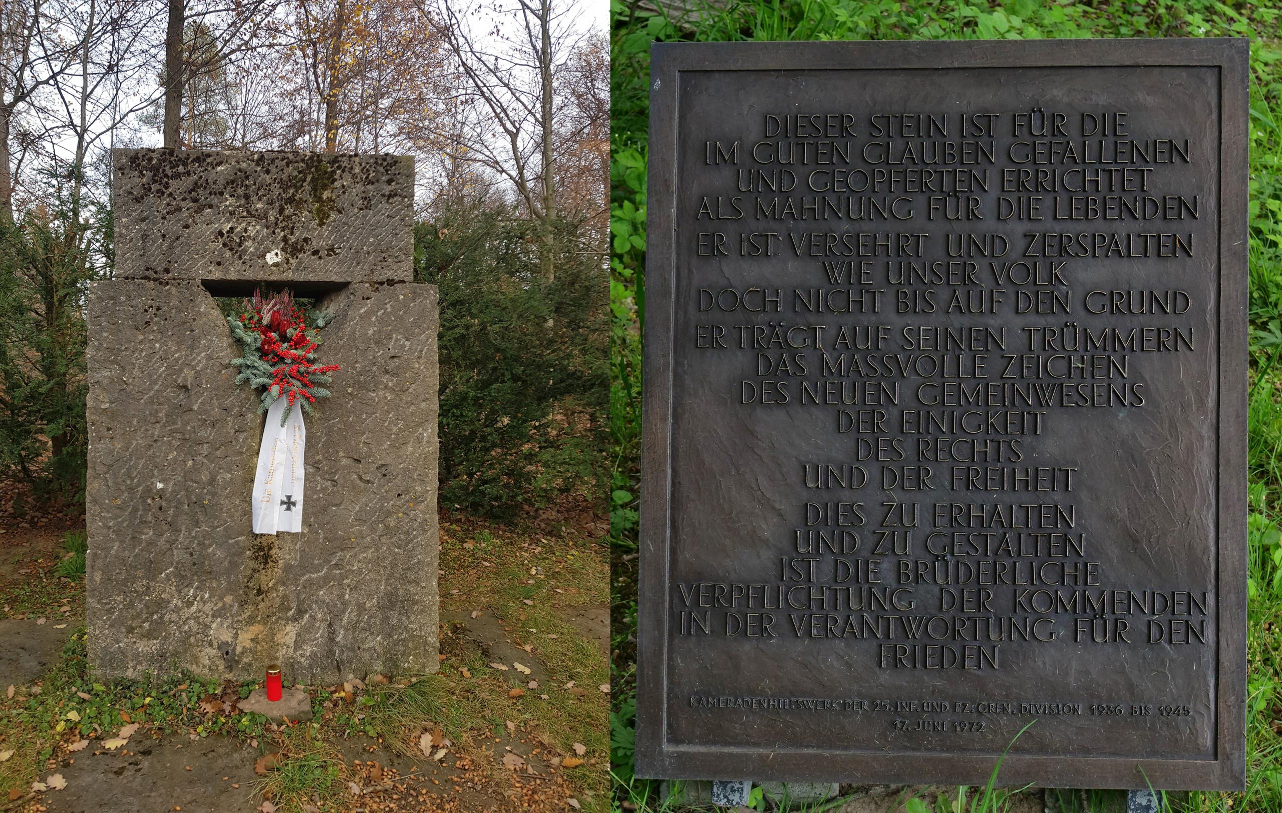 Kameraden-Gedenkstein an der Solitude. Commissioned by Kameradenhilfswerk (1972).  Featured here with a fresh wreath in Nov, 2020. Photos: Angela Anderson (2020)